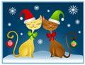 Cartoon Christmas Cats Holiday Card Royalty Free Stock Photo