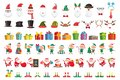 Cartoon Christmas collection. Xmas hats and New Year gifts. Santa Claus and elves helpers characters vector set Royalty Free Stock Photo