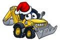 Cartoon Christmas Digger Bulldozer Character Royalty Free Stock Photo