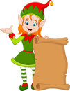 Cartoon Christmas elf girl holding old paper scroll Royalty Free Stock Photo