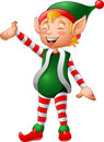 Cartoon Christmas elf presenting