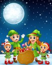 Cartoon Christmas Elves, Old Man, Old Witch With Elf Kids And A Bag Of Gifts In The Winter Night Background