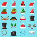 Cartoon christmas hat. Xmas different hats, winter masquerade masks. Elves ears, deer horns and snowman mask vector set Royalty Free Stock Photo
