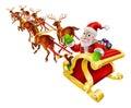Cartoon Christmas Santa Claus Sled Royalty Free Stock Photo