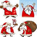 Cartoon Christmas Santa Clauses Set Royalty Free Stock Photo