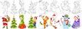 Cartoon christmas set Royalty Free Stock Photo