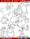 Cartoon Christmas Themes for Coloring Stock Photo
