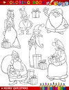 Cartoon christmas themes for coloring book Stock Photos