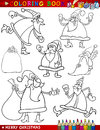 Cartoon christmas themes for coloring book Royalty Free Stock Image