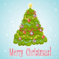 Cartoon christmas tree decorated with xmas toys garlands and hand drawn card Stock Image