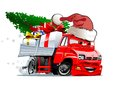Cartoon christmas truck on white background available eps vector format separated by groups and layers for easy edit Stock Photo