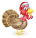Cartoon Christmas Turkey in Santa Hat Royalty Free Stock Photo