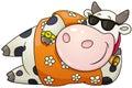 Cartoon chubby bull. Vector illustration.