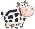Cartoon chubby cow. Vector illustration.