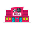 Cartoon Cinema Building. Vector Royalty Free Stock Photo