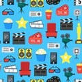Cartoon Cinema Color Element Background Pattern on a Blue. Vector