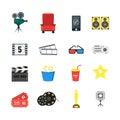 Cartoon Cinema Color Icons Set. Vector