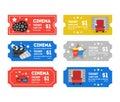 Cartoon Cinema Tickets Small Set. Vector