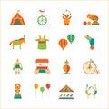 Cartoon Circus Color Icons Set. Vector