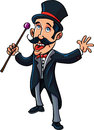 Cartoon circus ring master with a cane isolated on white Royalty Free Stock Photo