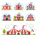 Cartoon circus tent with stripes and flags isolated.  Ideal for carnival signs Royalty Free Stock Photo