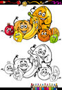 Cartoon citrus fruits for coloring book or page illustration of funny comic food characters group children education Stock Photos