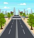 Cartoon City Crossroad Traffic Lights Card Poster. Vector Royalty Free Stock Photo