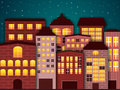 Cartoon city in the dark vector illustration of Royalty Free Stock Images