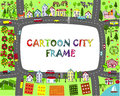 Cartoon city frame. Map landscape with cities, mountains, roads, sea, lake, forest and mountains. Kids frame. Royalty Free Stock Photo