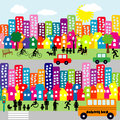 Cartoon city with people pictograms block of flats houses and Royalty Free Stock Photo