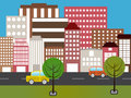 Cartoon city vector illustration of Royalty Free Stock Photo