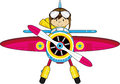 Cartoon Classic Aeroplane with Pilot Royalty Free Stock Photo