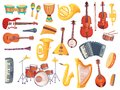 Cartoon musical instruments, guitars, bongo drums, cello, saxophone, microphone, drum kit isolated. Music instrument