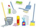 Cartoon Cleaning Supplies Royalty Free Stock Photography
