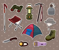 Cartoon climb equipment stickers Royalty Free Stock Photo