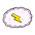 Cartoon cloud and lightning bolt symbol hand drawn illustration in retro style vector available Royalty Free Stock Images