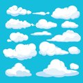 Cartoon clouds. Blue sky aerial cloudscape blue clouds different forms and shapes vector illustrations