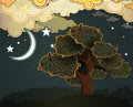 Cartoon clouds moon tree Royalty Free Stock Photography