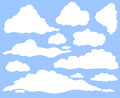 Cartoon clouds set on blue sky background. Collection of funny smoke and fog icons, for filling your sky scenes or ui Royalty Free Stock Photo