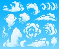 Cartoon clouds and smoke. Dust cloud, fast action icons. Sky vector isolated illustration collection