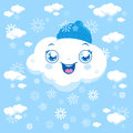 Cartoon clouds snowing Royalty Free Stock Photo