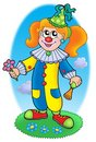 Cartoon clown girl on meadow Stock Photography