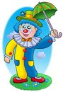 Cartoon clown holding umbrella Stock Photography