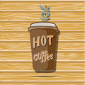 Cartoon coffee cup. Take away. Vector flat illustration