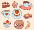 Cartoon coffee illustration and cakes Royalty Free Stock Image