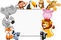 Cartoon collection animal with blank sign illustration of Royalty Free Stock Photography