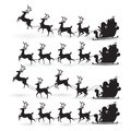 Cartoon collection of Christmas Santa Claus rides reindeer sleigh on Christmas with different pose emotion. vector set silhouette Royalty Free Stock Photo