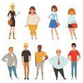 Cartoon collection of young and adult people in different poses. Men and women characters wearing casual clothes. Full
