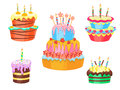 Cartoon Color Cakes Set. Vector