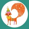 Cartoon color fox